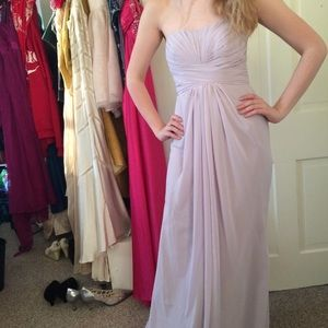 Lavender strapless bridesmaid/prom dress